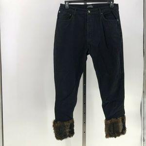 Zara woman black denim jeans cropped faux fur 10